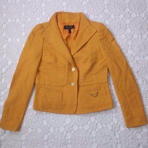 Escada 36 Mustard Yellow Blazer Jacket Wingtip GUC